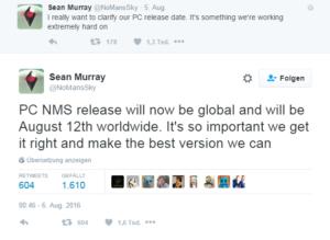 No Mans Sky - Tweet von Sean Murray zur Verzögerung der PC-Version