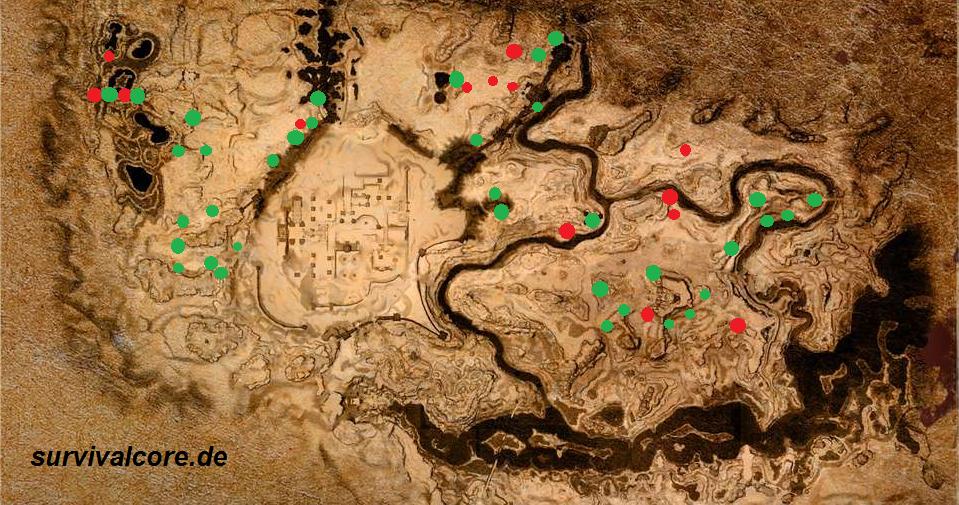 Fundorte von Eisen (Grün) und Kohle (Rot) in Conan Exiles