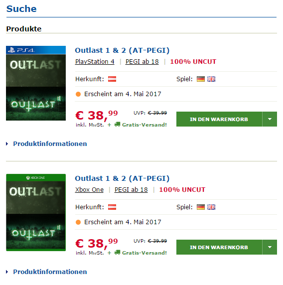 Outlast 2 Release - Listung auf Gameware.at